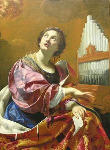 Die heilige Cäcilia, meist dargestellt mit einer Orgel